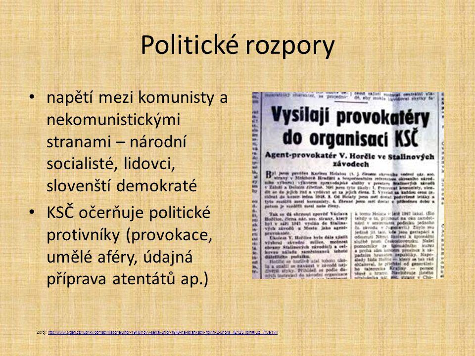 Politické rozpory napětí mezi komunisty a nekomunistickými stranami – národní socialisté, lidovci, slovenští demokraté KSČ očerňuje politické protivní