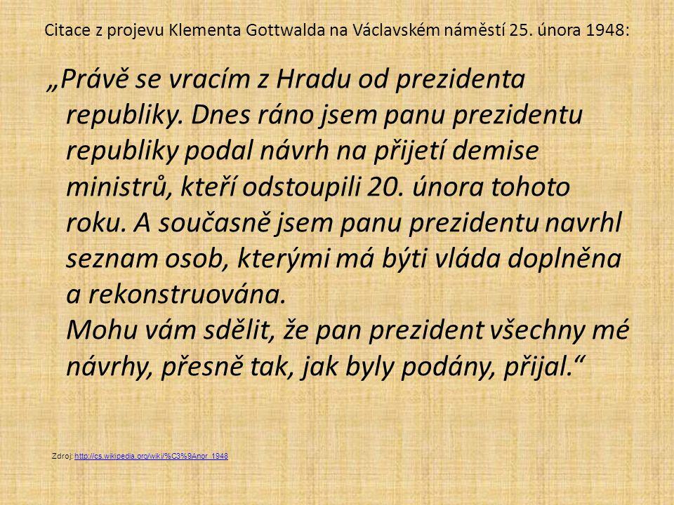 """Citace z projevu Klementa Gottwalda na Václavském náměstí 25. února 1948: """"Právě se vracím z Hradu od prezidenta republiky. Dnes ráno jsem panu prezid"""