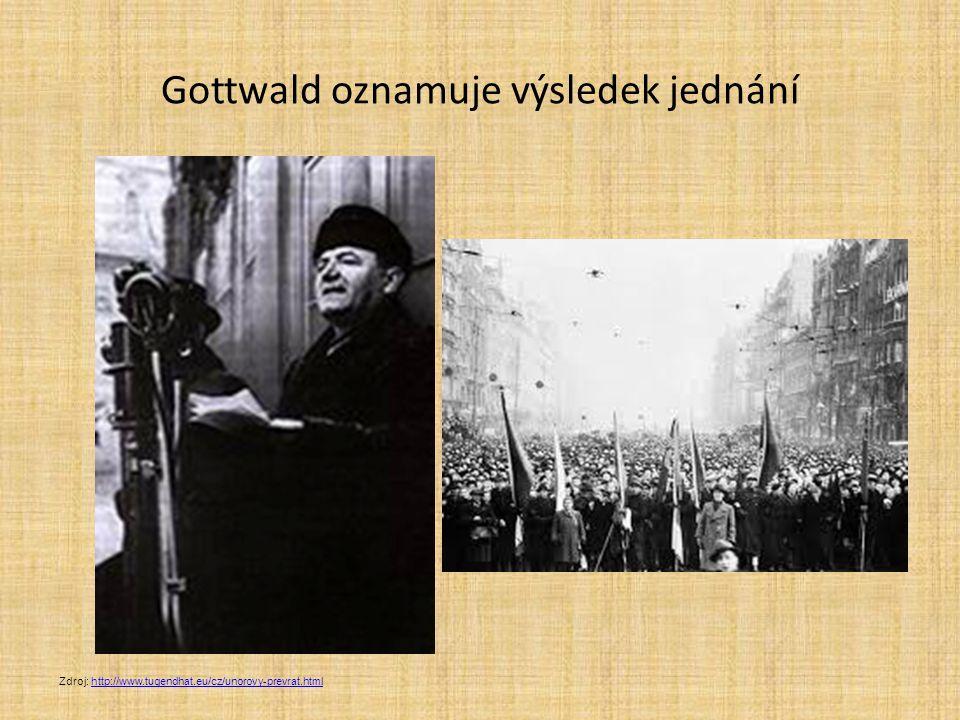 Gottwald oznamuje výsledek jednání Zdroj: http://www.tugendhat.eu/cz/unorovy-prevrat.htmlhttp://www.tugendhat.eu/cz/unorovy-prevrat.html