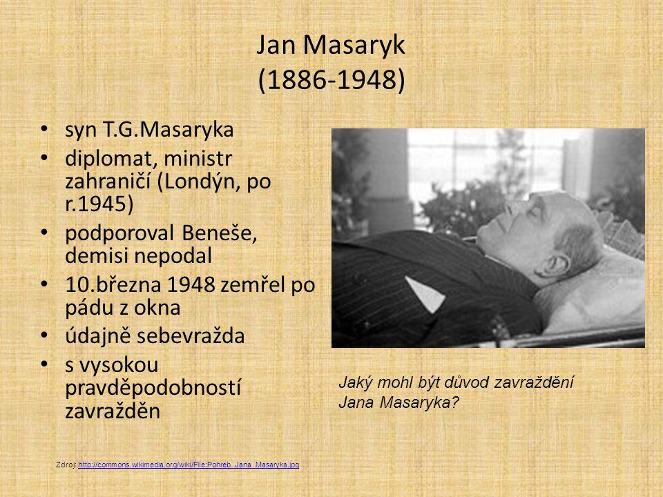 Jan Masaryk (1886-1948) syn T.G.Masaryka diplomat, ministr zahraničí (Londýn, po r.1945) podporoval Beneše, demisi nepodal 10.března 1948 zemřel po pá