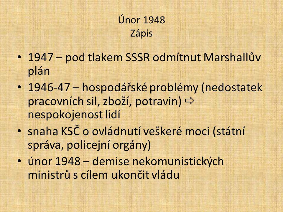 Únor 1948 Zápis 1947 – pod tlakem SSSR odmítnut Marshallův plán 1946-47 – hospodářské problémy (nedostatek pracovních sil, zboží, potravin)  nespokoj