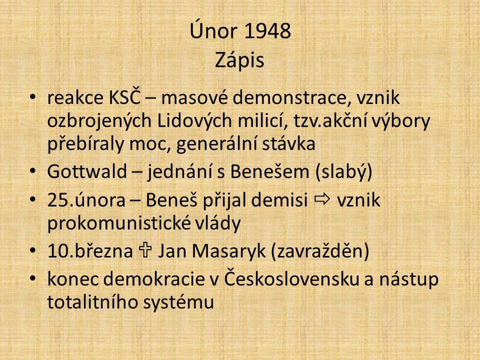 Únor 1948 Zápis reakce KSČ – masové demonstrace, vznik ozbrojených Lidových milicí, tzv.akční výbory přebíraly moc, generální stávka Gottwald – jednán