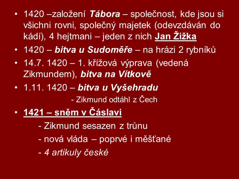 1420 –založení Tábora – společnost, kde jsou si všichni rovni, společný majetek (odevzdáván do kádí), 4 hejtmani – jeden z nich Jan Žižka 1420 – bitva u Sudoměře – na hrázi 2 rybníků 14.7.