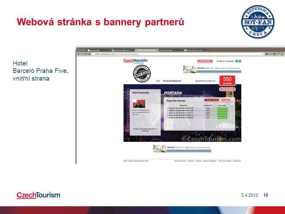 Webová stránka s bannery partnerů 2.4.201510 Hotel Barceló Praha Five, vnitřní strana