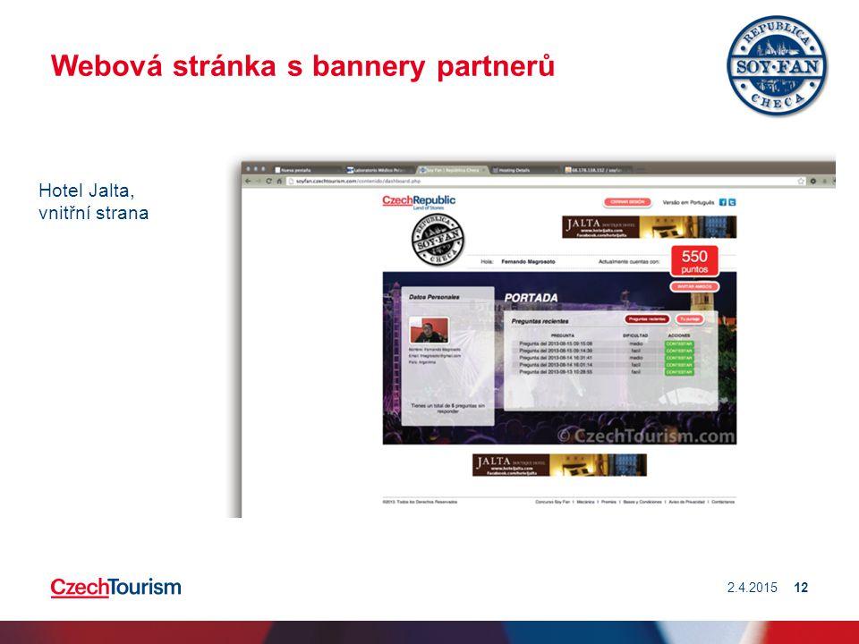 Webová stránka s bannery partnerů 2.4.201512 Hotel Jalta, vnitřní strana
