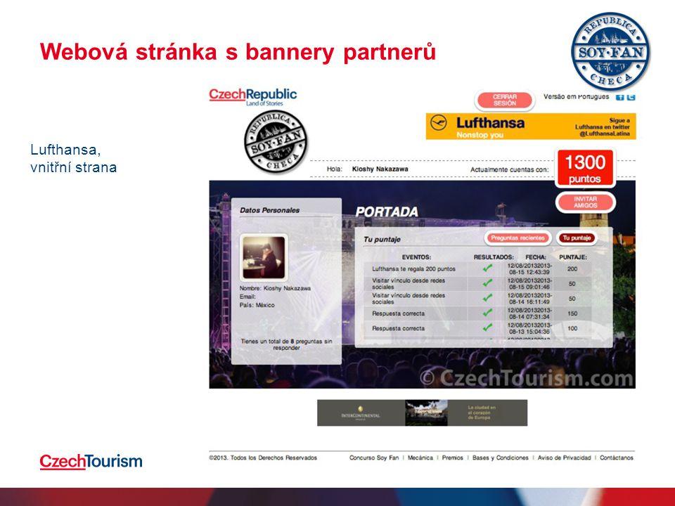 Webová stránka s bannery partnerů 2.4.201516 Lufthansa, vnitřní strana