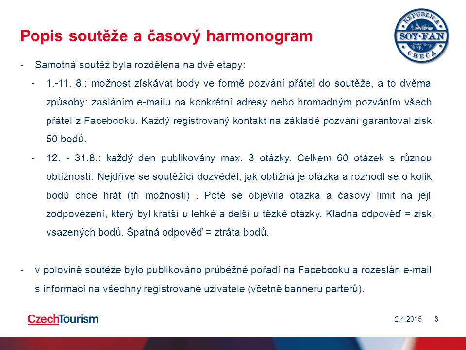 Popis soutěže a časový harmonogram -Samotná soutěž byla rozdělena na dvě etapy: -1.-11.