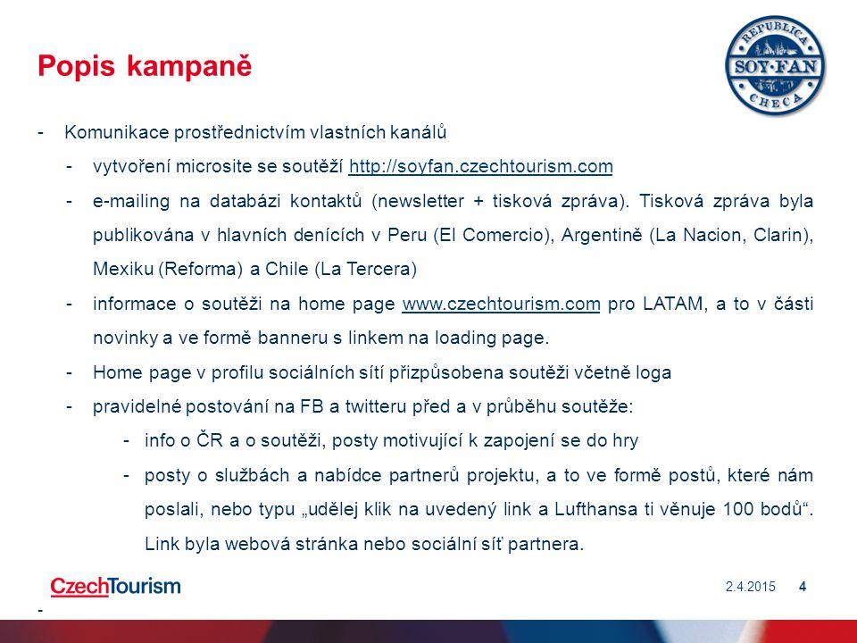 Popis kampaně -Komunikace prostřednictvím vlastních kanálů -vytvoření microsite se soutěží http://soyfan.czechtourism.comhttp://soyfan.czechtourism.com -e-mailing na databázi kontaktů (newsletter + tisková zpráva).