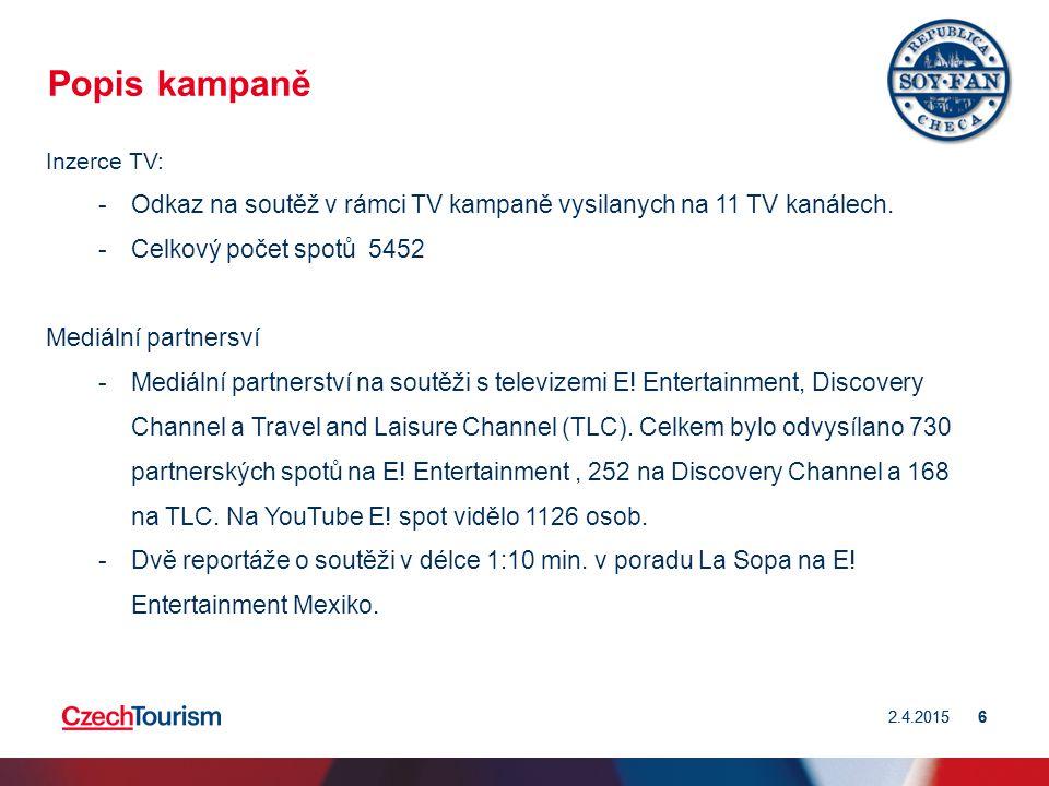 2.4.20156 6 Popis kampaně Inzerce TV: -Odkaz na soutěž v rámci TV kampaně vysilanych na 11 TV kanálech.