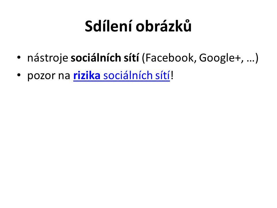 Sdílení obrázků nástroje sociálních sítí (Facebook, Google+, …) pozor na rizika sociálních sítí!rizika sociálních sítí