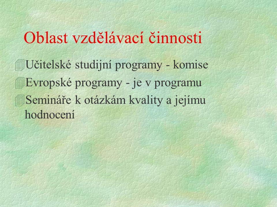Oblast vzdělávací činnosti 4Učitelské studijní programy - komise 4Evropské programy - je v programu 4Semináře k otázkám kvality a jejímu hodnocení