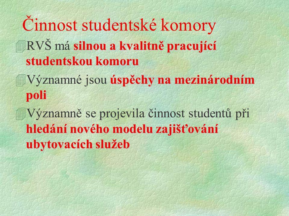 Činnost studentské komory silnou a kvalitně pracující studentskou komoru 4RVŠ má silnou a kvalitně pracující studentskou komoru úspěchy na mezinárodní