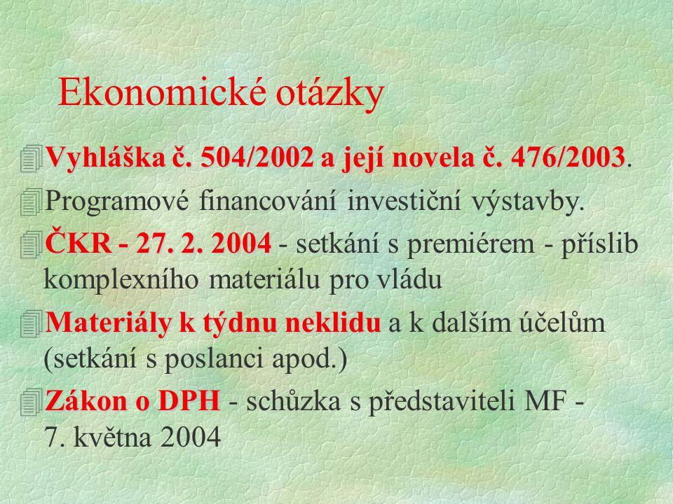 Ekonomické otázky 4Vyhláška č. 504/2002 a její novela č. 476/2003 4Vyhláška č. 504/2002 a její novela č. 476/2003. 4Programové financování investiční