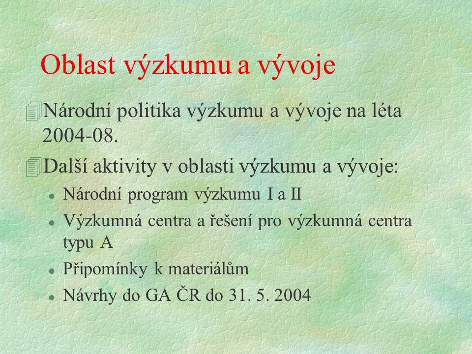 Oblast výzkumu a vývoje 4Národní politika výzkumu a vývoje na léta 2004-08. 4Další aktivity v oblasti výzkumu a vývoje: l Národní program výzkumu I a