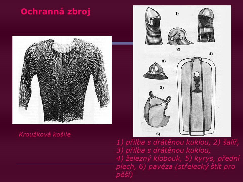 1) přilba s drátěnou kuklou, 2) šalíř, 3) přilba s drátěnou kuklou, 4) železný klobouk, 5) kyrys, přední plech, 6) pavéza (střelecký štít pro pěší) Kroužková košile Ochranná zbroj