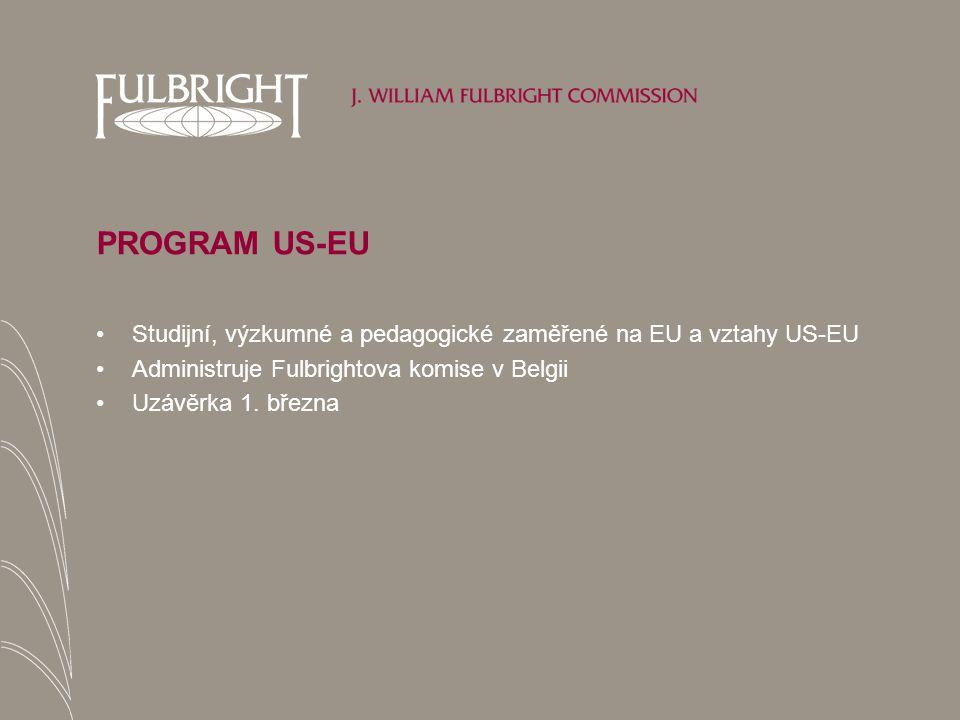 PROGRAM US-EU Studijní, výzkumné a pedagogické zaměřené na EU a vztahy US-EU Administruje Fulbrightova komise v Belgii Uzávěrka 1.