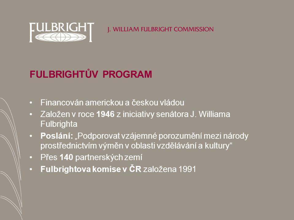 FULBRIGHTŮV PROGRAM Financován americkou a českou vládou Založen v roce 1946 z iniciativy senátora J.
