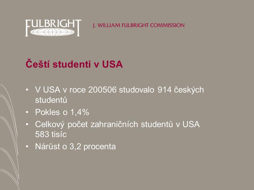 Čeští studenti v USA V USA v roce 200506 studovalo 914 českých studentů Pokles o 1,4% Celkový počet zahraničních studentů v USA 583 tisíc Nárůst o 3,2 procenta