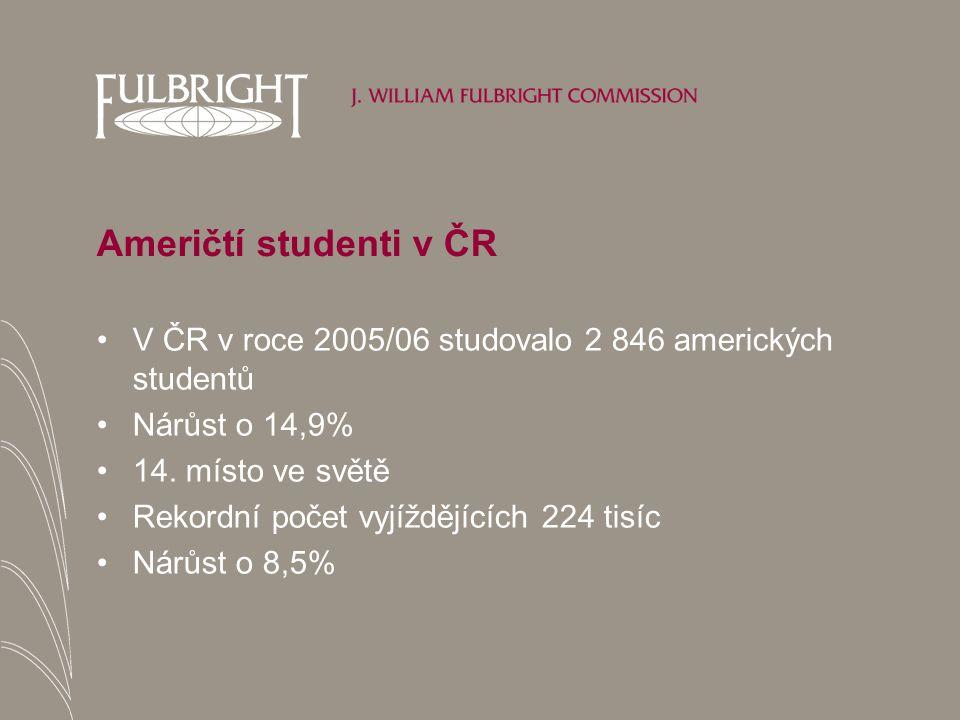 Američtí studenti v ČR V ČR v roce 2005/06 studovalo 2 846 amerických studentů Nárůst o 14,9% 14.