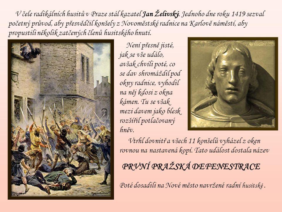 V čele radikálních husitů v Praze stál kazatel Jan Želivský. Jednoho dne roku 1419 sezval početný průvod, aby přesvědčil konšely z Novoměstské radnice