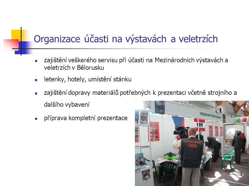 Organizace účasti na výstavách a veletrzích zajištění veškerého servisu při účasti na Mezinárodních výstavách a veletrzích v Bělorusku letenky, hotely