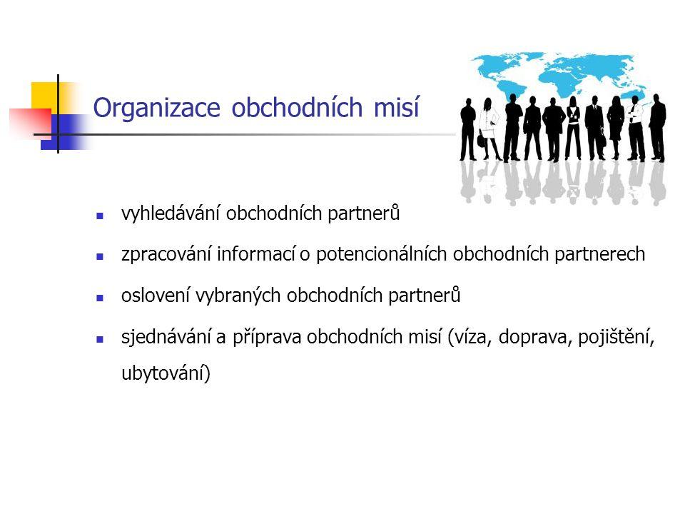Organizace obchodních misí vyhledávání obchodních partnerů zpracování informací o potencionálních obchodních partnerech oslovení vybraných obchodních