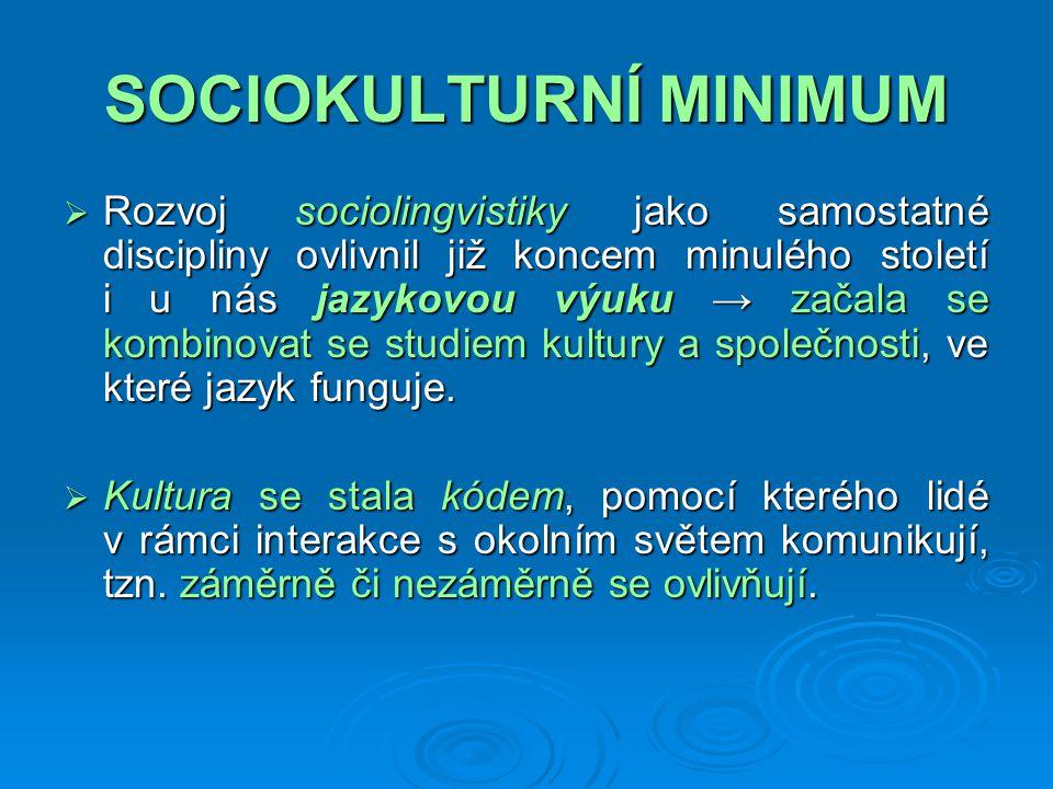SOCIOKULTURNÍ MINIMUM  SERR specifikuje tyto znalosti do konkrétních okruhů, jako je např.