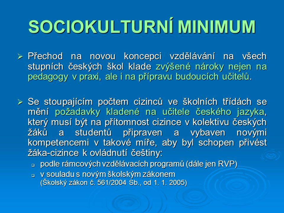 SOCIOKULTURNÍ MINIMUM  Přechod na novou koncepci vzdělávání na všech stupních českých škol klade zvýšené nároky nejen na pedagogy v praxi, ale i na přípravu budoucích učitelů.