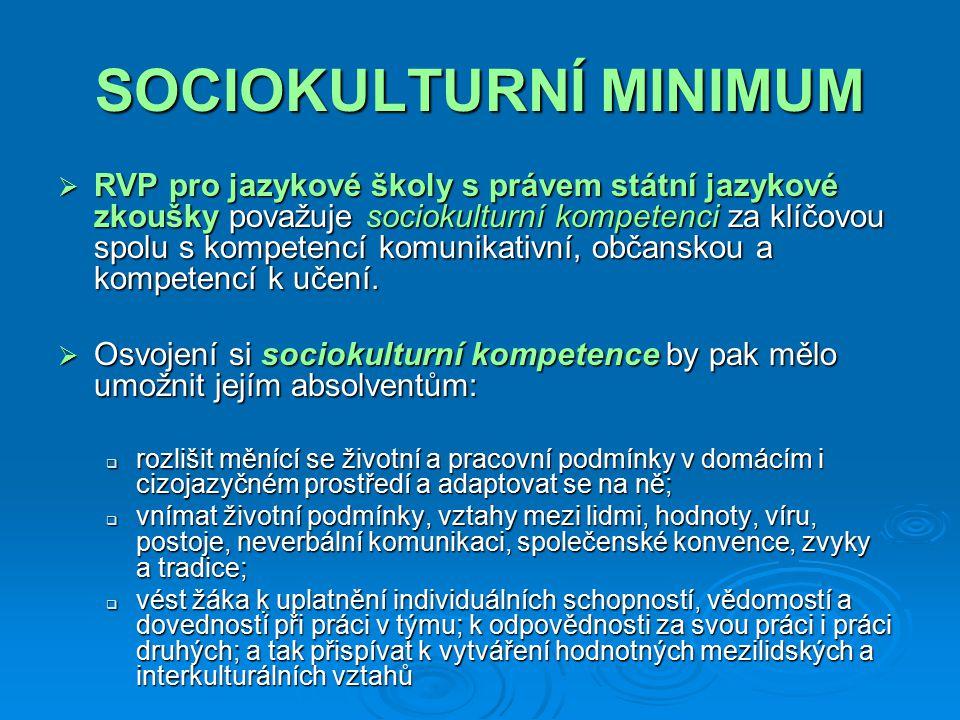 SOCIOKULTURNÍ MINIMUM  Bez sociokulturní kompetence dnes nelze moderní jazykovou výuku realizovat.