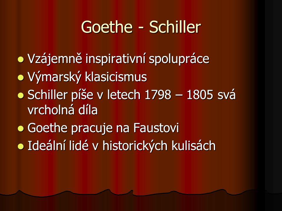 Goethe - Schiller Vzájemně inspirativní spolupráce Vzájemně inspirativní spolupráce Výmarský klasicismus Výmarský klasicismus Schiller píše v letech 1