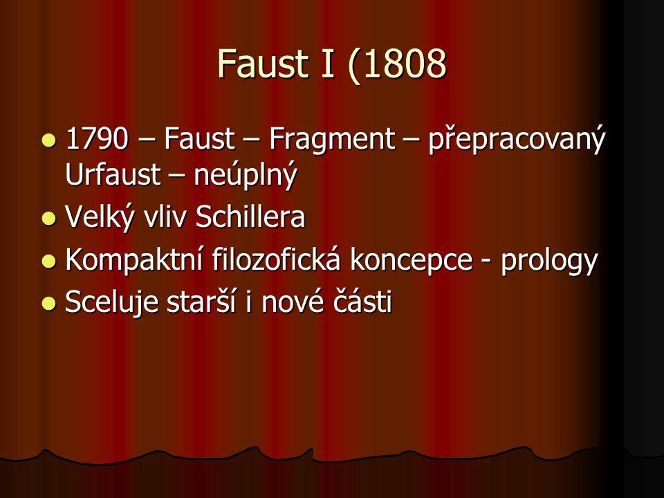 Faust I (1808 1790 – Faust – Fragment – přepracovaný Urfaust – neúplný 1790 – Faust – Fragment – přepracovaný Urfaust – neúplný Velký vliv Schillera V