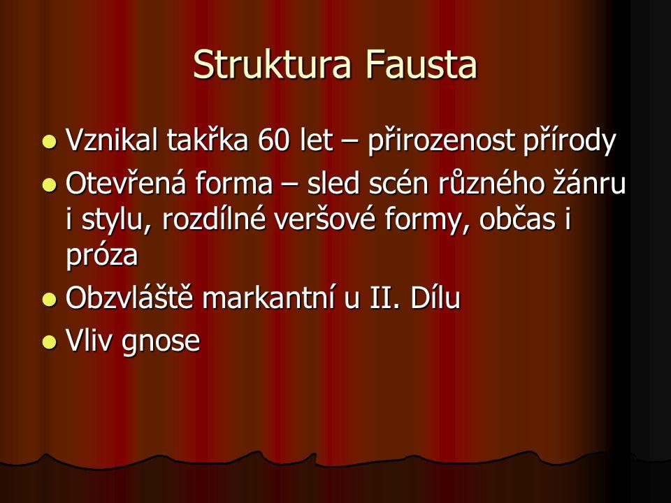 Struktura Fausta Vznikal takřka 60 let – přirozenost přírody Vznikal takřka 60 let – přirozenost přírody Otevřená forma – sled scén různého žánru i st