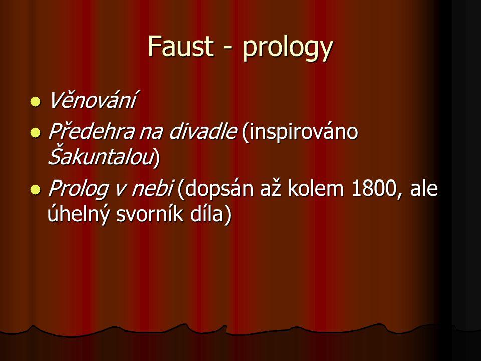 Faust - prology Věnování Věnování Předehra na divadle (inspirováno Šakuntalou) Předehra na divadle (inspirováno Šakuntalou) Prolog v nebi (dopsán až k