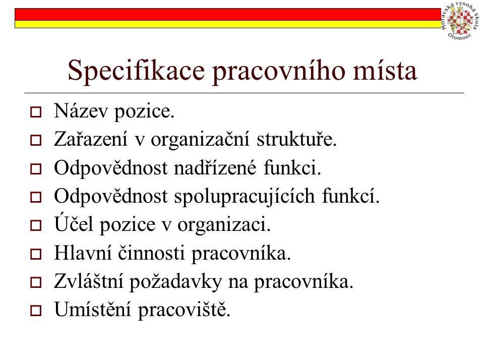 Specifikace pracovního místa  Název pozice.  Zařazení v organizační struktuře.  Odpovědnost nadřízené funkci.  Odpovědnost spolupracujících funkcí