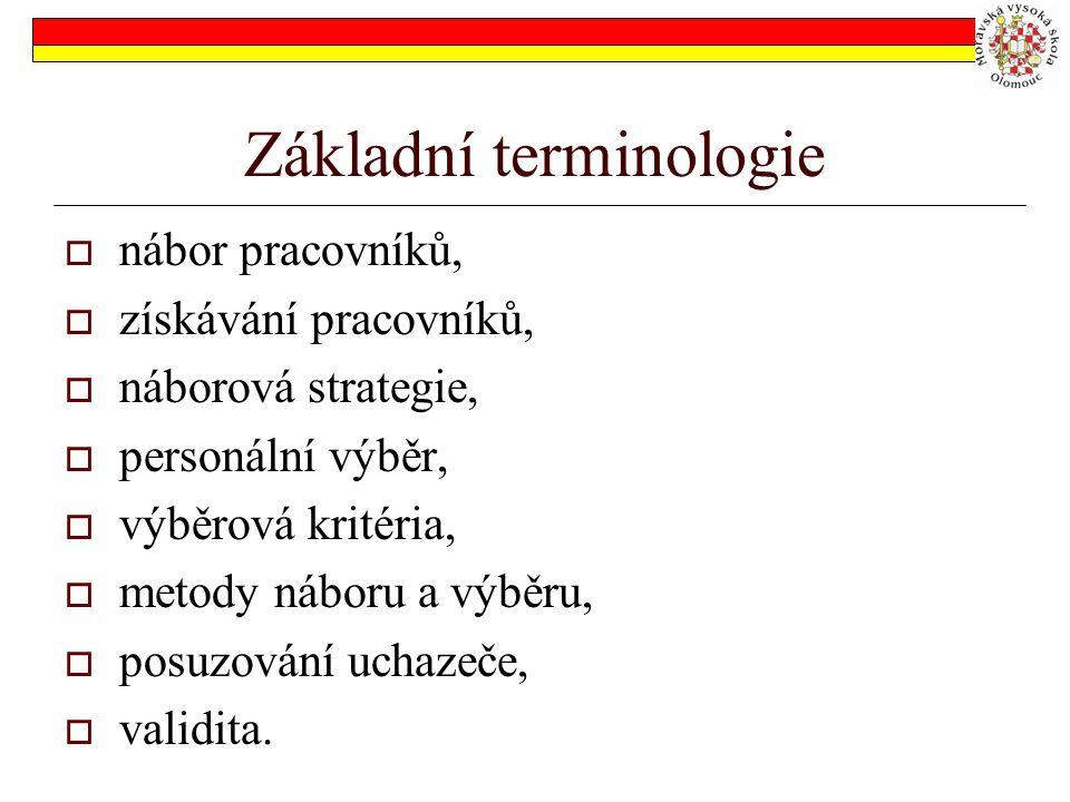 Základní terminologie  nábor pracovníků,  získávání pracovníků,  náborová strategie,  personální výběr,  výběrová kritéria,  metody náboru a výb