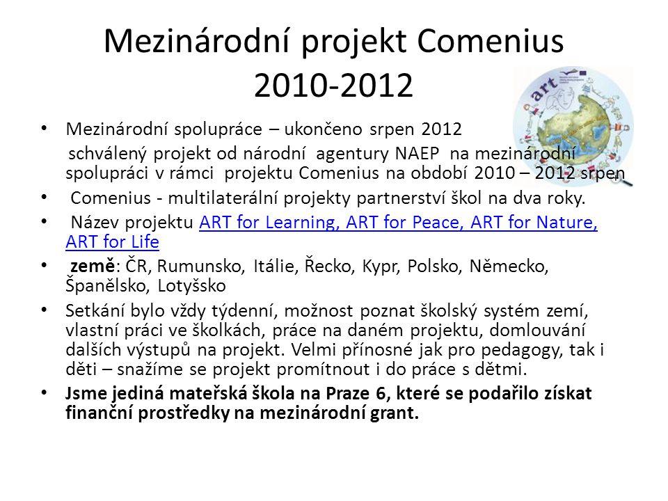 Mezinárodní projekt Comenius 2010-2012 Mezinárodní spolupráce – ukončeno srpen 2012 schválený projekt od národní agentury NAEP na mezinárodní spoluprá