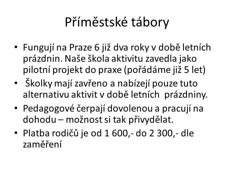 Příměstské tábory Fungují na Praze 6 již dva roky v době letních prázdnin. Naše škola aktivitu zavedla jako pilotní projekt do praxe (pořádáme již 5 l