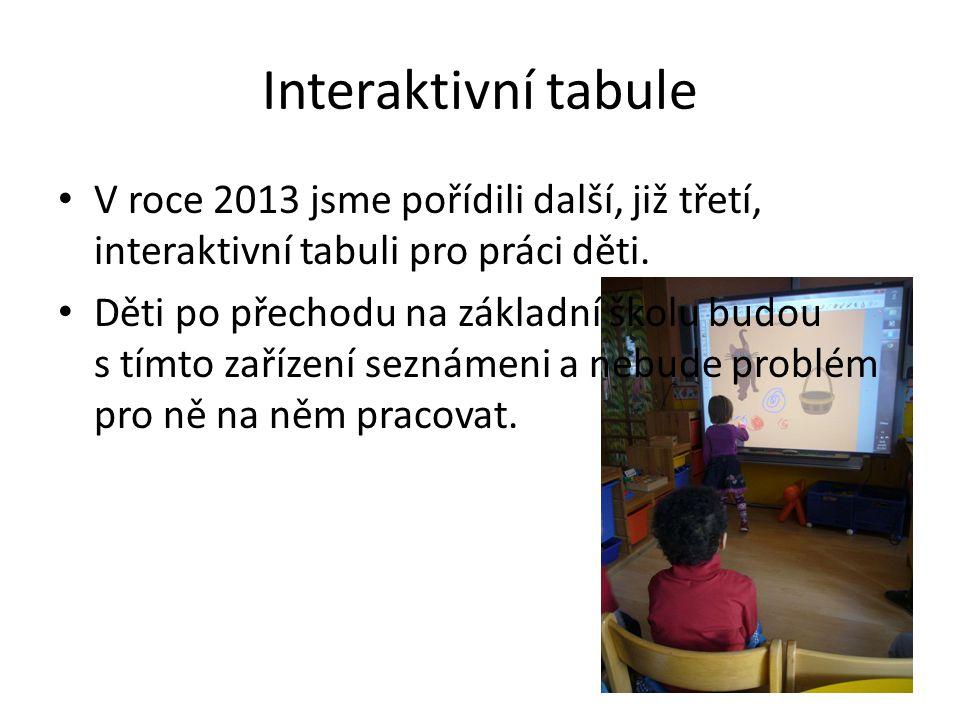 Interaktivní tabule V roce 2013 jsme pořídili další, již třetí, interaktivní tabuli pro práci děti. Děti po přechodu na základní školu budou s tímto z