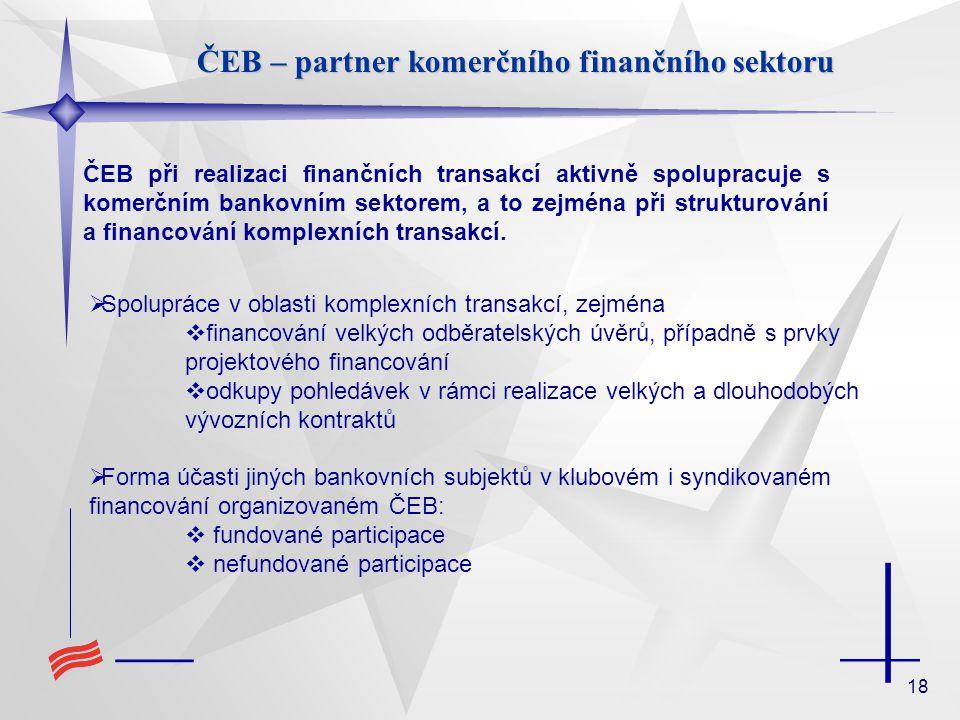 18 ČEB – partner komerčního finančního sektoru ČEB při realizaci finančních transakcí aktivně spolupracuje s komerčním bankovním sektorem, a to zejmén