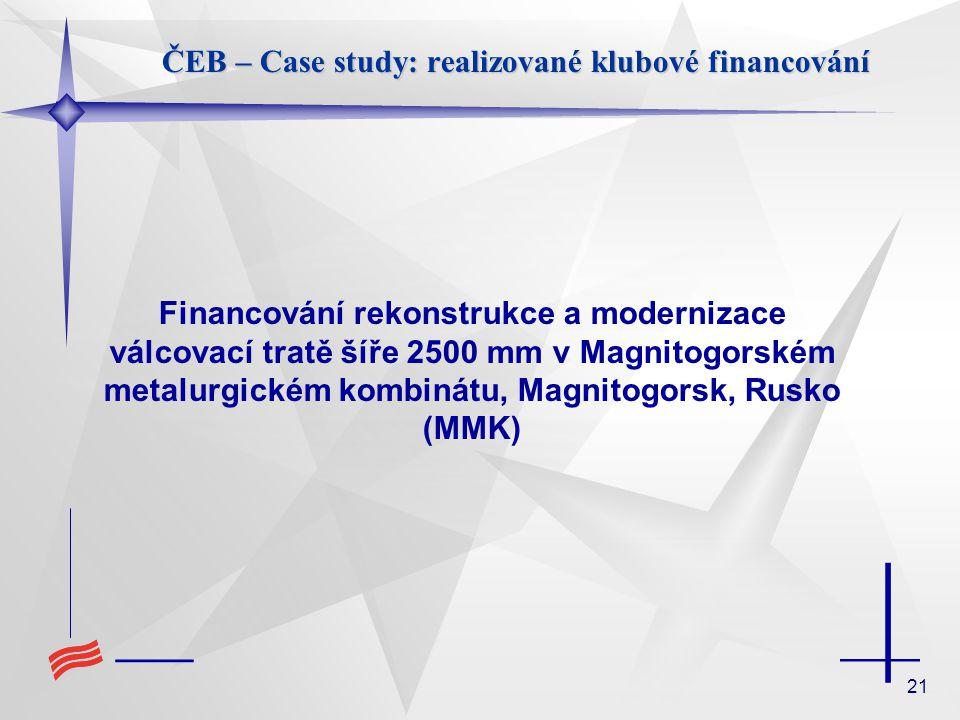 21 ČEB – Case study: realizované klubové financování Financování rekonstrukce a modernizace válcovací tratě šíře 2500 mm v Magnitogorském metalurgické