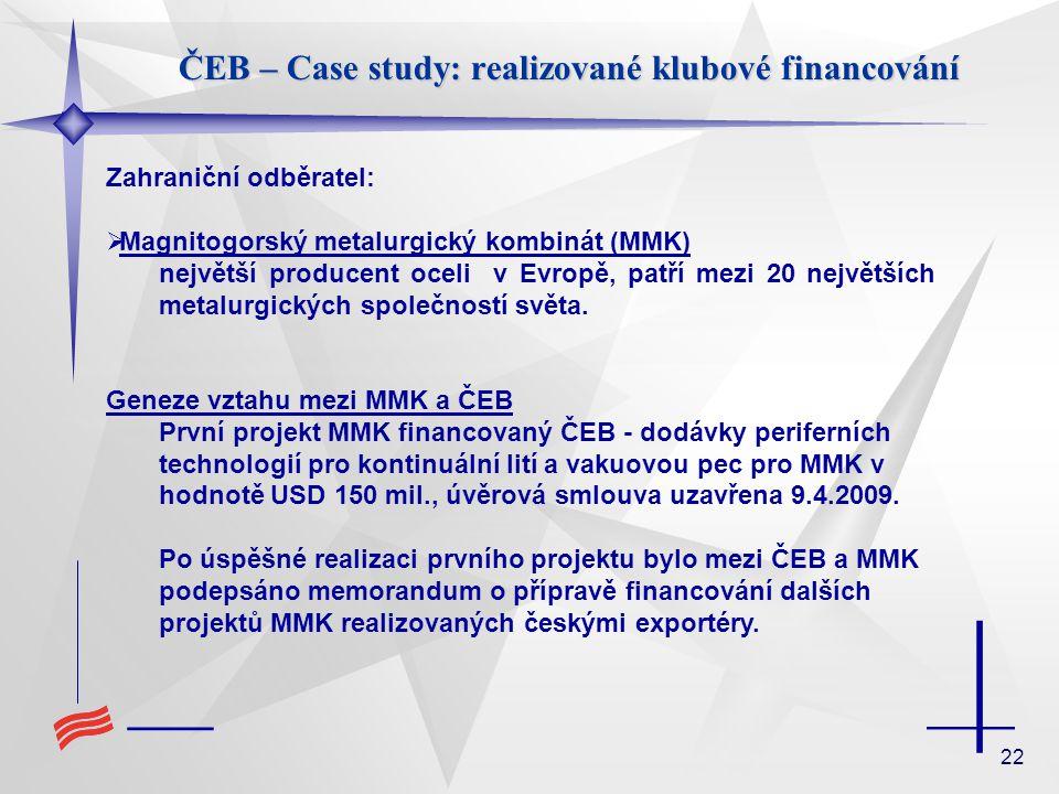 22 ČEB – Case study: realizované klubové financování Zahraniční odběratel:  Magnitogorský metalurgický kombinát (MMK) největší producent oceli v Evro