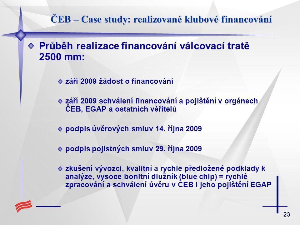 23 Průběh realizace financování válcovací tratě 2500 mm: září 2009 žádost o financování září 2009 schválení financování a pojištění v orgánech ČEB, EG