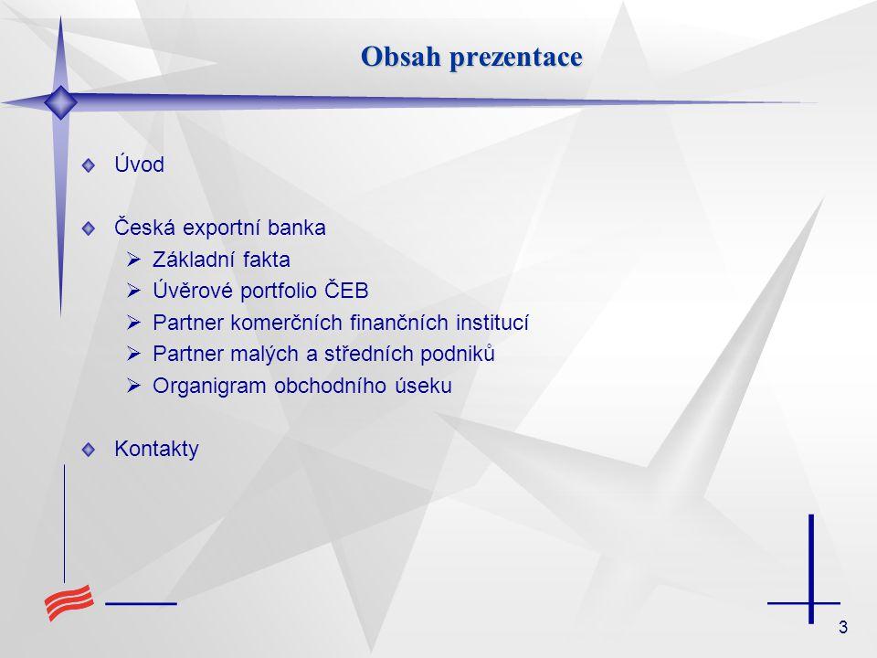 3 Obsah prezentace Úvod Česká exportní banka  Základní fakta  Úvěrové portfolio ČEB  Partner komerčních finančních institucí  Partner malých a stř