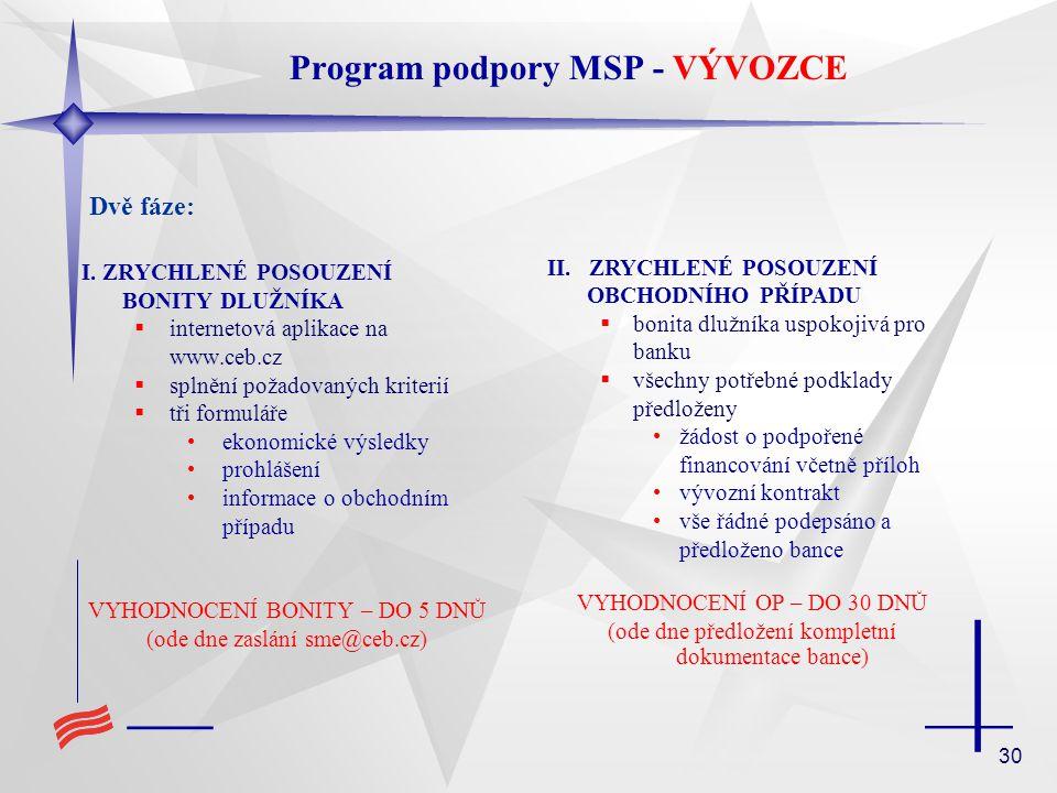 30 I. ZRYCHLENÉ POSOUZENÍ BONITY DLUŽNÍKA  internetová aplikace na www.ceb.cz  splnění požadovaných kriterií  tři formuláře ekonomické výsledky pro