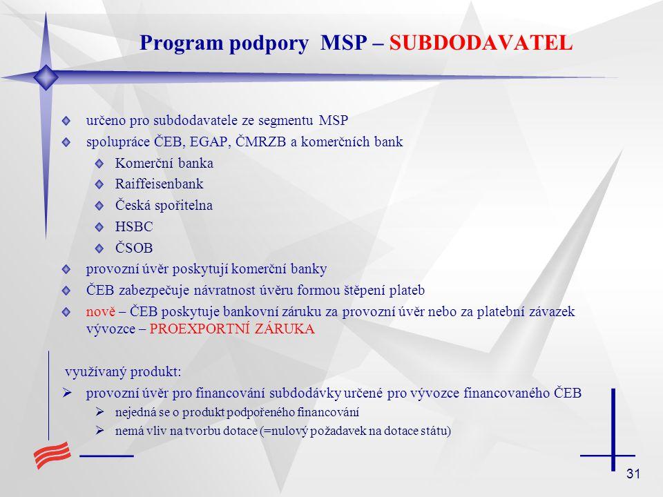 31 Program podpory MSP – SUBDODAVATEL určeno pro subdodavatele ze segmentu MSP spolupráce ČEB, EGAP, ČMRZB a komerčních bank Komerční banka Raiffeisen