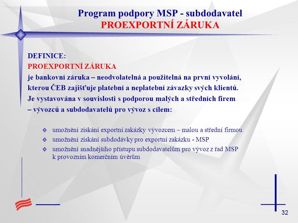 32 Program podpory MSP - subdodavatel PROEXPORTNÍ ZÁRUKA DEFINICE: PROEXPORTNÍ ZÁRUKA je bankovní záruka – neodvolatelná a použitelná na první vyvolán