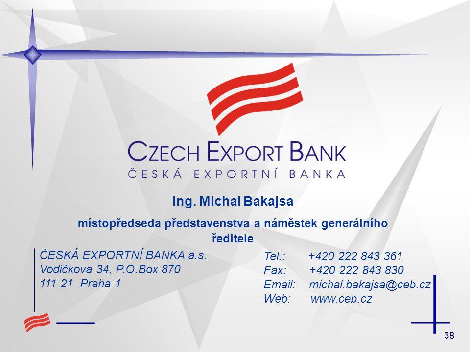 38 ČESKÁ EXPORTNÍ BANKA a.s. Vodičkova 34, P.O.Box 870 111 21 Praha 1 Tel.: +420 222 843 361 Fax: +420 222 843 830 Email: michal.bakajsa@ceb.cz Web: w