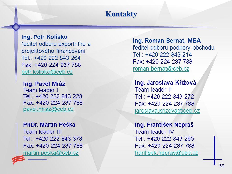 39 Kontakty Ing. Pavel Mráz Team leader I Tel.: +420 222 843 228 Fax: +420 224 237 788 pavel.mraz@ceb.cz pavel.mraz@ceb.cz Ing. Jaroslava Křížová Team