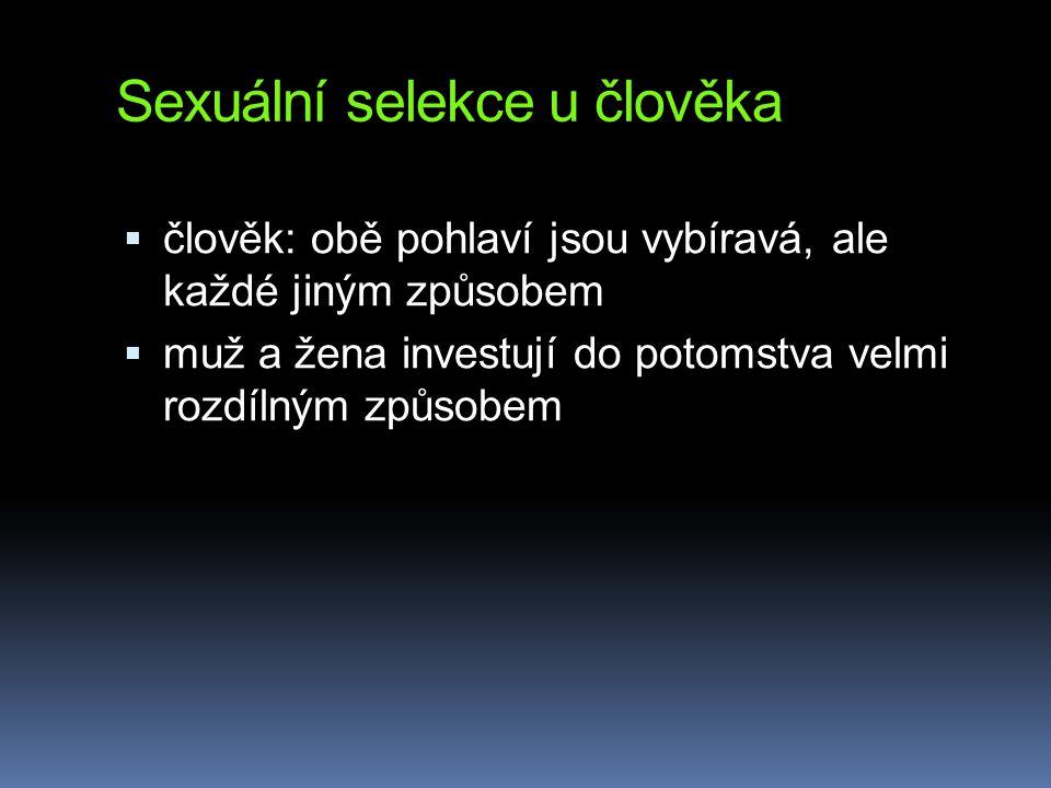 Sexuální selekce u člověka  člověk: obě pohlaví jsou vybíravá, ale každé jiným způsobem  muž a žena investují do potomstva velmi rozdílným způsobem
