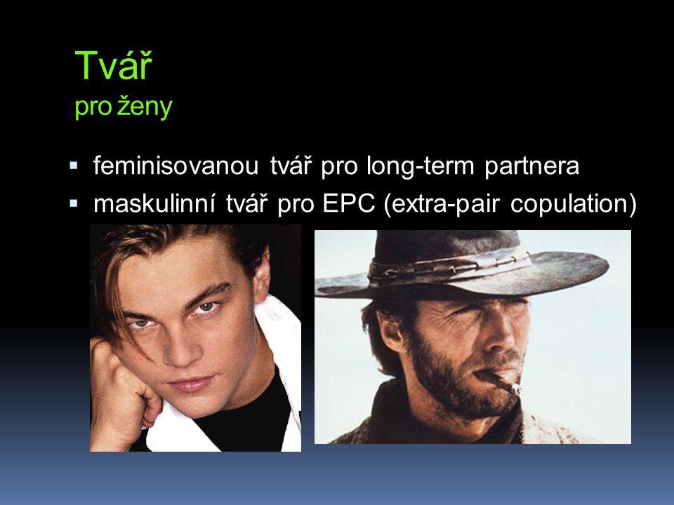 Tvář pro ženy  feminisovanou tvář pro long-term partnera  maskulinní tvář pro EPC (extra-pair copulation)